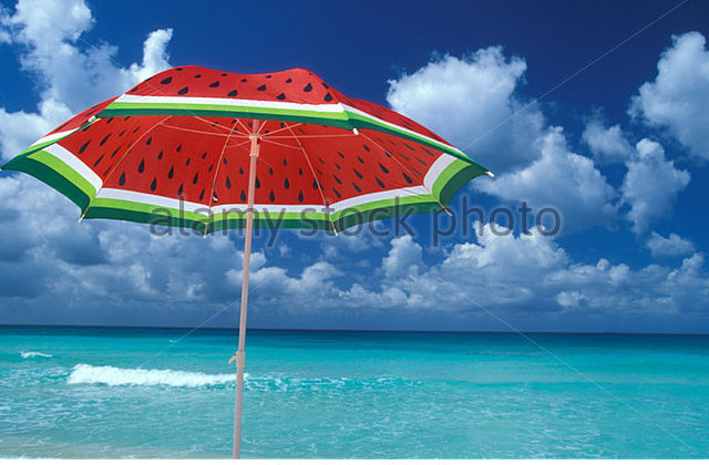 beach-umbrella-and-caribbean-sea-a7bcbw